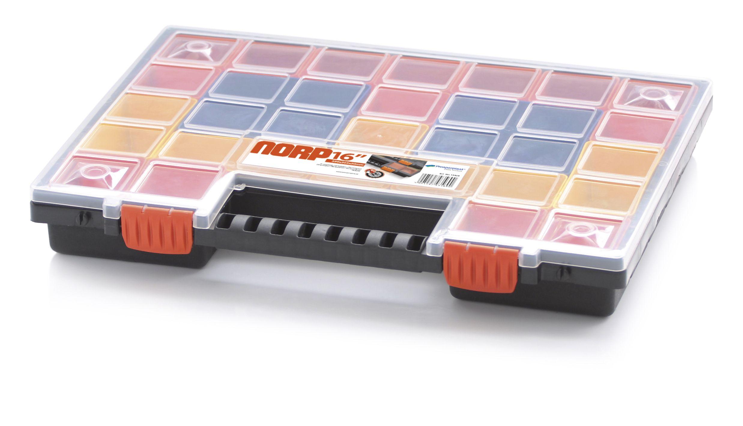 Plastový organizér 32 barevných přihrádek NORP 399x303x50