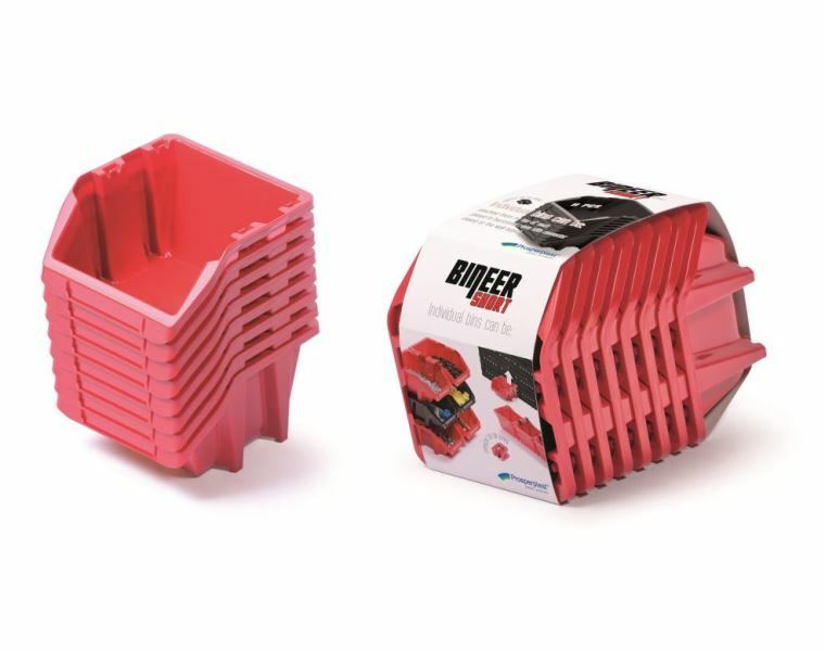 Set plastových úložných boxů 8ks BINEER SHORT SET 206x118x144 červený