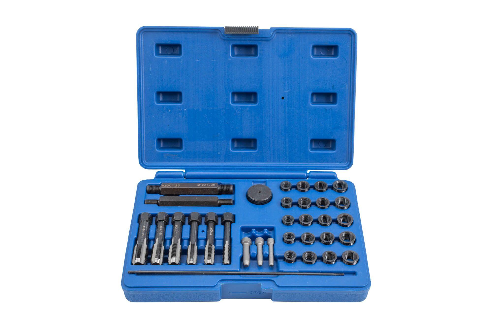 Sada na opravu závitů žhavicích svíček M8x1, M10x1, M10x1.25, M12x1.25, 33 kusů