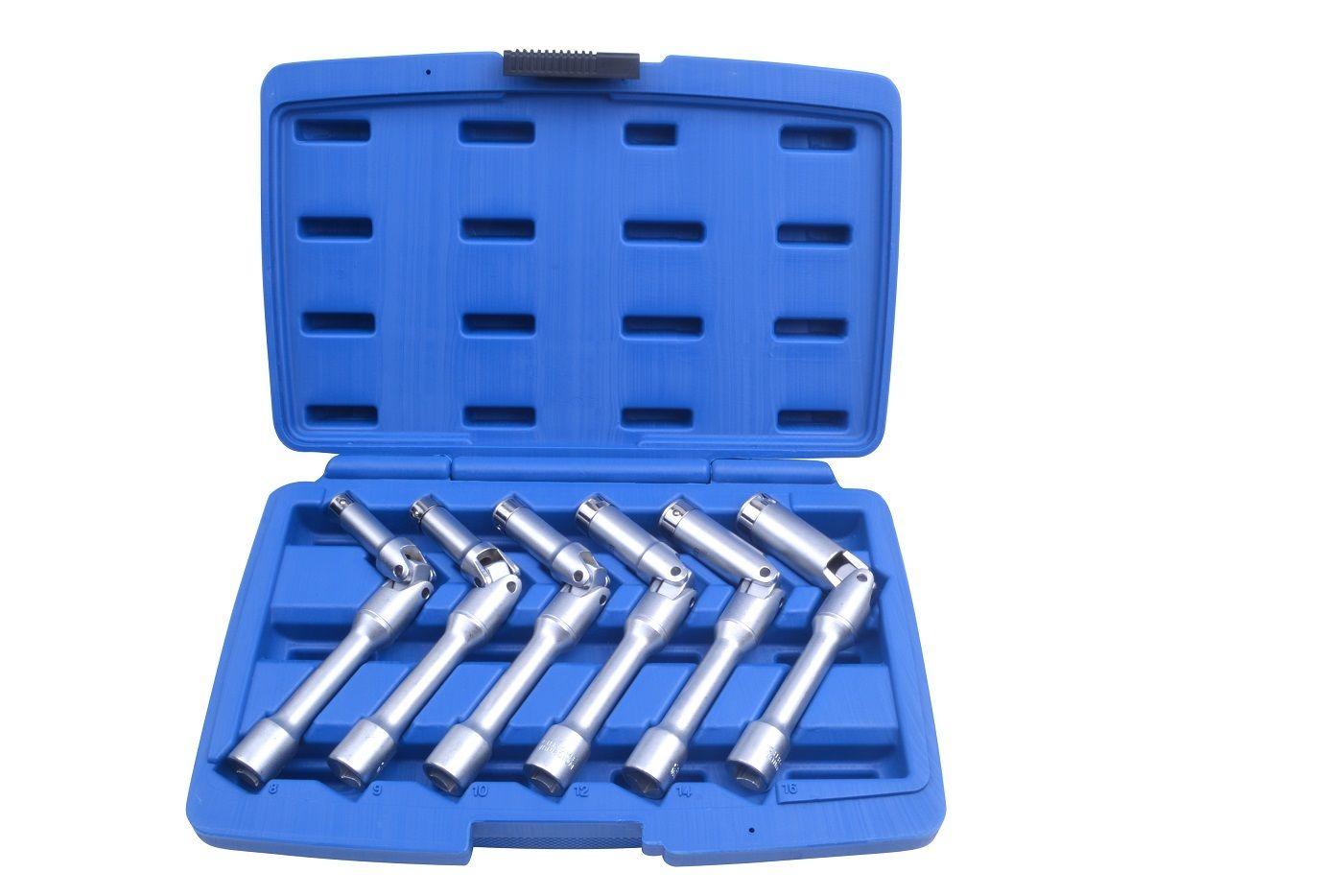 """Nástrčné kloubové klíče 3/8"""", na svíčky, velikost 8-16 mm, sada 6 kusů"""