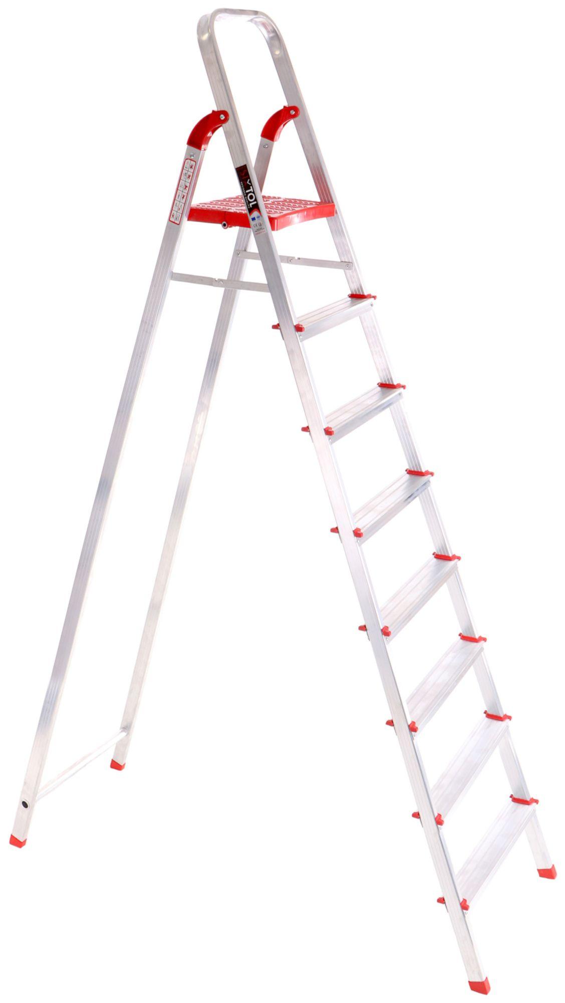 Schůdky hliníkové skládací ALU STEPS 8, 8 stupňů, nejvyšší schůdek 177 cm, nosnost 120 kg