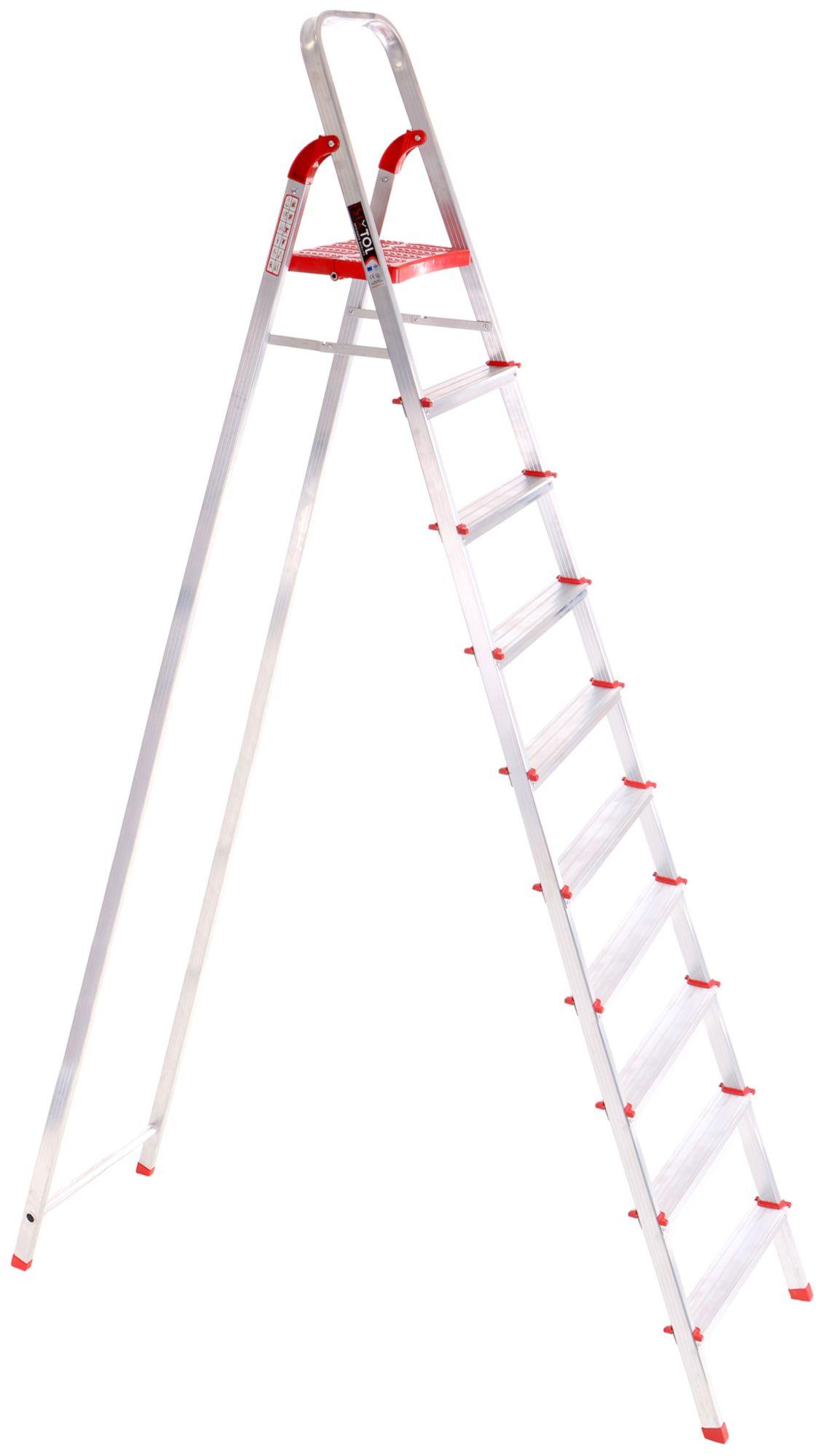 Schůdky hliníkové skládací ALU STEPS 10, 10 stupňů, nejvyšší schůdek 222 cm, nosnost 120kg