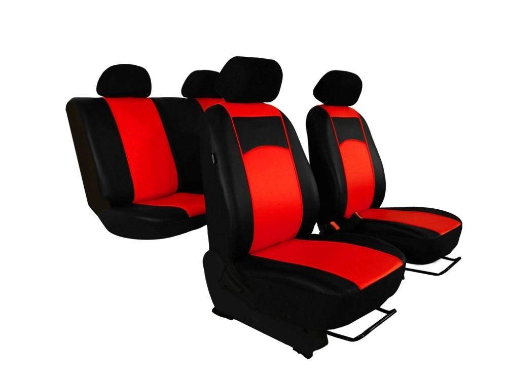 Autopotahy Škoda Fabia II, kožené Tuning černočervené, dělené zadní sedadla