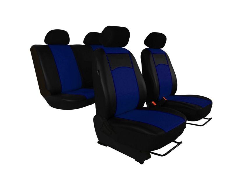 Autopotahy Škoda Fabia II, kožené Tuning černomodré, nedělené zadní sedadla