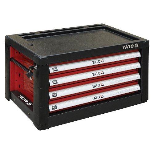Skříňka dílenská přenosná, 4 zásuvky, 690x465x400mm, červená, YATO-09152