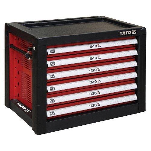 Skříňka dílenská přenosná, 6 zásuvky, 690x465x535mm, červená, YATO-09155
