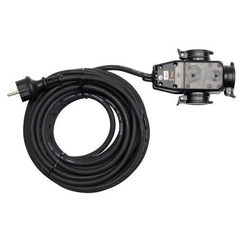 Prodlužovací kabel s gumovou izolací, 10m, 3 zásuvky