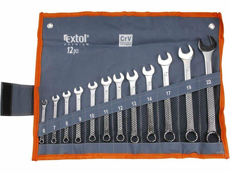 Klíče očkoploché, sada 12ks, 6-7-8-9-10-11-12-13-14-17-19-22mm, CrV