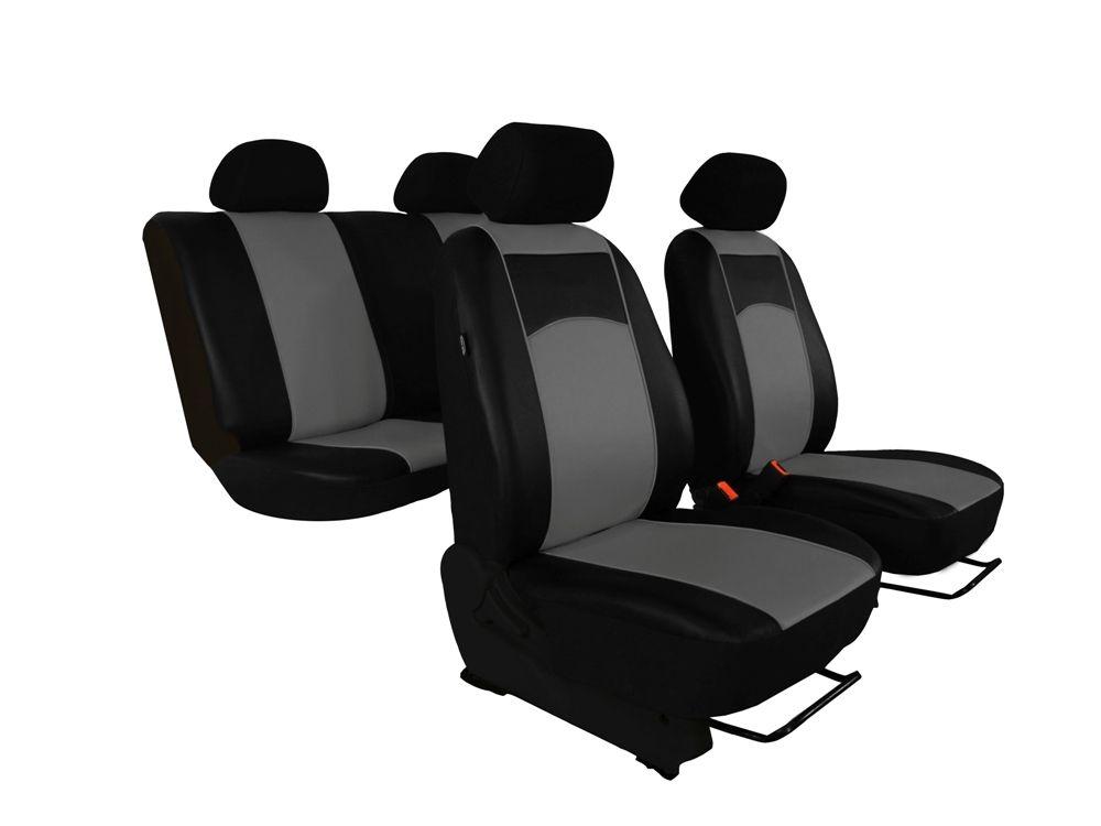 Autopotahy Škoda Fabia II, kožené Tuning černošedé, nedělené zadní sedadla