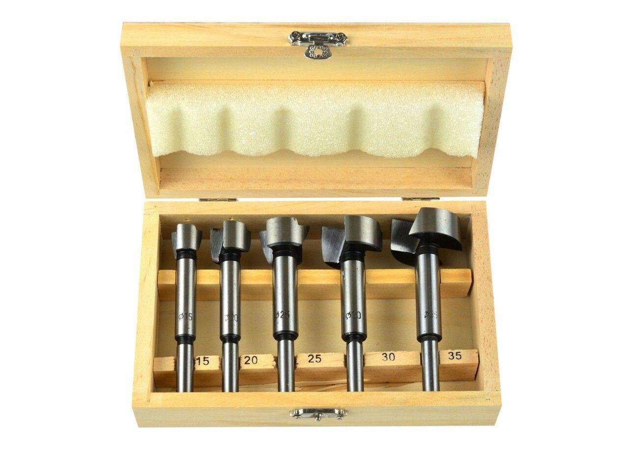 Frézy-sukovníky, do dřeva, 5ks, 15-20-25-30-35mm, stopka 8mm